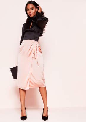 ddd091de2 Missy Empire Missyempire Yara Pink Satin Wrap Midi Skirt
