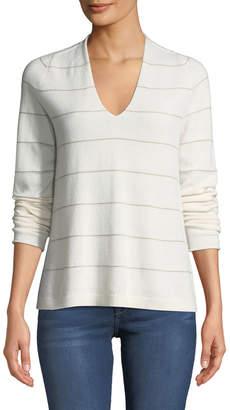 Lafayette 148 New York Cashmere V-Neck Shimmer-Striped Sweater
