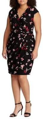 Lauren Ralph Lauren Plus Ruched Floral Jersey Slim-Fit Sheath Dress