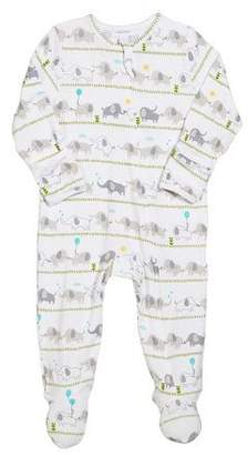 Angel Dear Striped Elephant Zip-Front Footie Pajamas, Size 0-9 Months