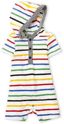 Offspring Newborn/Infant Boys) Stripe Hooded Slub Knit Romper