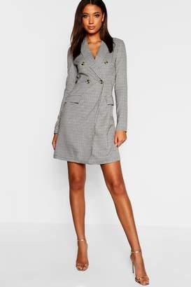 boohoo Tall Tweed Mock Horn Button Blazer Dress