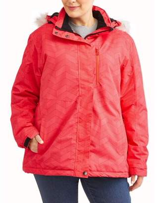 Iceburg Women's Plus Size Insulated Ski Jacket With Removable Hood