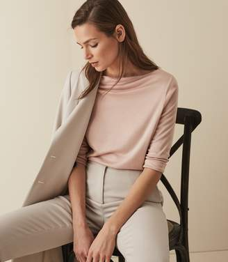 Reiss MARILYN STRAIGHT NECK TOP Pink