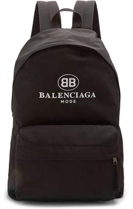 Balenciaga Logo Embroidered Coated Canvas Backpack - Mens - Black Multi