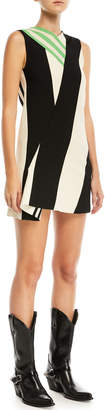 Calvin Klein Mix-Striped High-Neck Sleeveless Dress