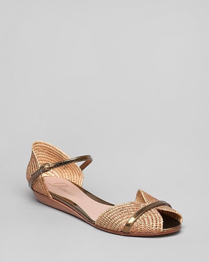 Delman Peep Toe Flat Sandals - Nifty