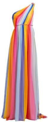Carolina Herrera Asymmetric Striped Silk Chiffon Gown - Womens - Multi