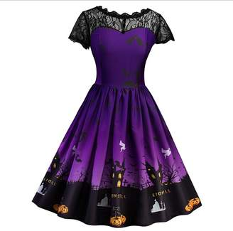 Wendybridal 2017 Women's Vintage Lace Halloween Crew Neck Swing Dress with Sleeves XL