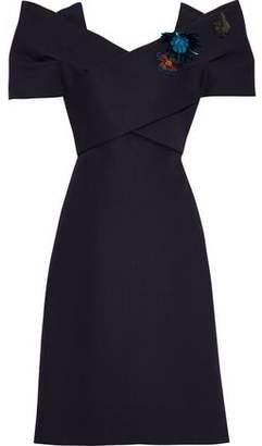 DELPOZO Floral-Appliquéd Wool And Silk-Blend Dress