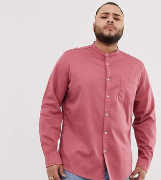 Asos Design DESIGN stretch regular fit denim shirt in pink with grandad collar