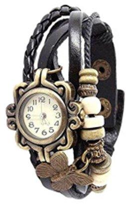 ABS by Allen Schwartz 新しいレディースビンテージファッションバタフライブレスレットフェイクレザークォーツ腕時計