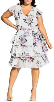 City Chic Plus Summer Love Floral Tiered-Ruffle Dress