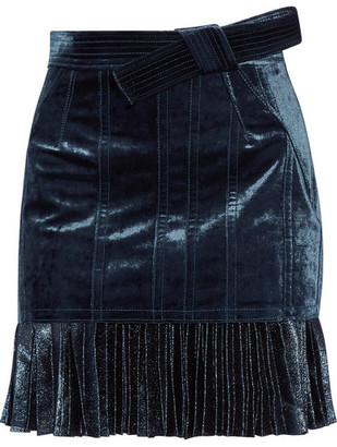 3.1 Phillip Lim - Velvet And Metallic Chiffon Mini Skirt - Navy $750 thestylecure.com