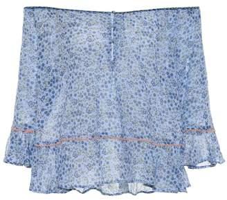 Poupette St Barth Olive printed cotton blouse