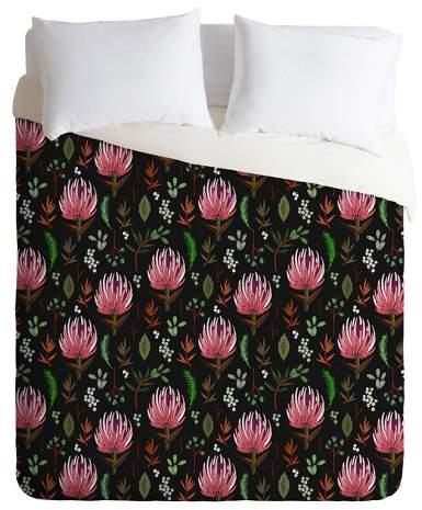 Black Floral Holli Zollinger Protea Boho Duvet Cover