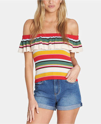 Billabong Juniors' Ruffled Off-The-Shoulder Sweater