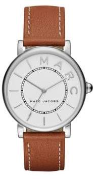 Marc Jacobs Classic Stainless Steel and Leather Three-Hand Strap Watch