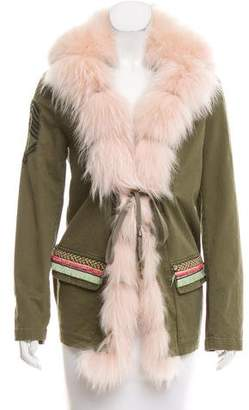 History Repeats by Femme Michele Rossi Fur-Trimmed Military Jacket w/ Tags