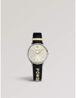 2d0de9b59f Versace Manifesto Power sterling silver and gold-plated leather strap watch