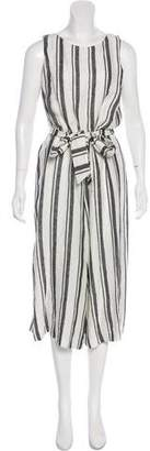 Alice + Olivia Linen High-Rise Wide-Leg Jumpsuit