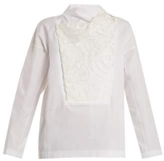 Toga Lace Bib Cotton Poplin Top - Womens - White
