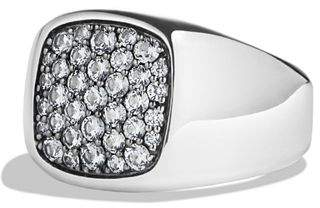 David Yurman Pavé Signet Ring with Gray Sapphire in Silver