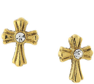 clear 1928 SYMBOLS OF FAITH 1928 Symbols Of Faith Religious Jewelry 13mm Cross Stud Earrings