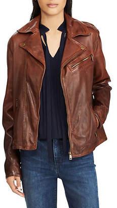 Lauren Ralph Lauren Full-Zip Leather Moto Jacket