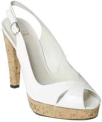Stuart Weitzman white patent 'Exsling' slingback sandals