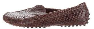Tod's Snakeskin Round-Toe Loafers