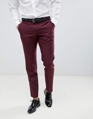 Next wool slim fit suit pants in burgundy