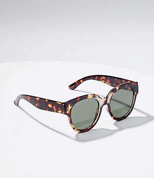 LOFT Tortoiseshell Print Wide Round Sunglasses