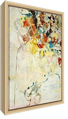 Camilla And Marc Abstract Bloom Gallery Wrapped Natural Framed Box Canvas with Solid Front Panel, 64 x 44 x 4 cm, Multicoloured