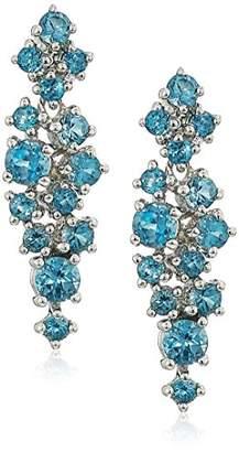 Rhodium Plated Sterling Cluster London Blue Topaz Drop Dangle Earrings