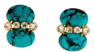 Bounkit Turquoise & Quartz Clip-On Earrings