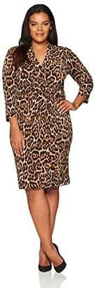 Anne Klein Women's Plus Size Animal Print Wrap Dress