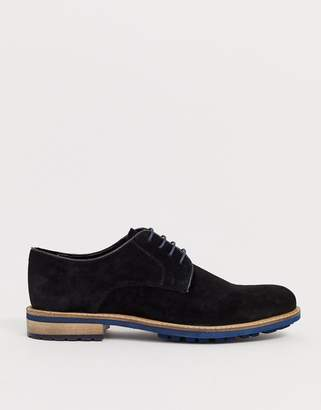 Silver Street Siliver Street suede derby lace up shoe in black