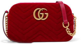 Gucci Gg Marmont Small Quilted Velvet Shoulder Bag - Red