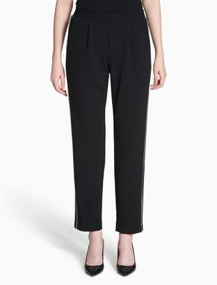 Calvin Klein piped crepe pull-on pants