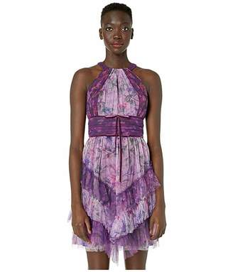 Marchesa Sleeveless Color Blocked Printed Tulle Cocktail Skirt