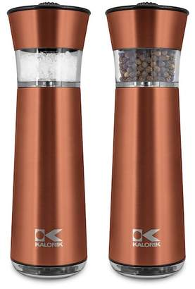 Kalorik Easy Grind Electric Copper Salt & Pepper Grinders Set