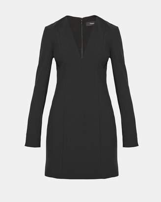 Theory Bi-Stretch V-Neck Mini Dress