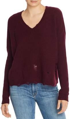 Aqua Distressed V-Neck Cashmere Sweater - 100% Exclusive