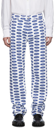Versace White and Blue Ford Edition Logo Jeans
