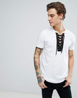 Asos DESIGN Longline T-Shirt With Curved Hem And Deep V Contrast Lace Up Neck