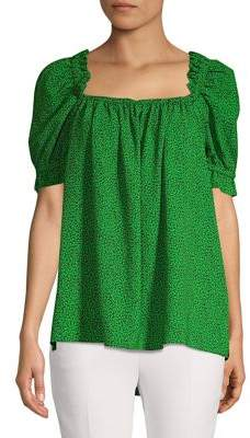 MICHAEL Michael Kors Printed Puff-Shoulder Blouse