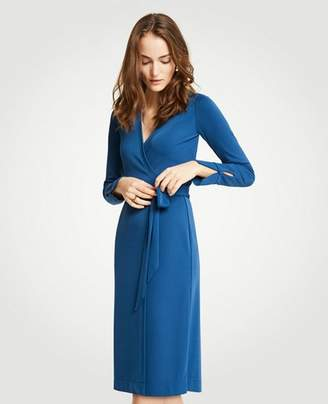 Ann Taylor Petite Button Cuff Wrap Dress