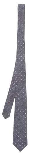 Polka-dot print linen-blend tie