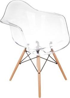 Orren Ellis Quast Acrylic Dining Chair with Wood Base Orren Ellis